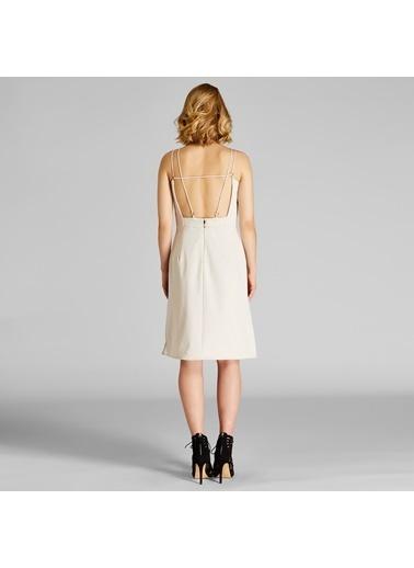 Vekem-Limited Edition İp Askılı Yırtmaçlı Elbise Bej